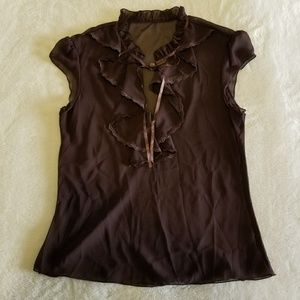 Tops - Sheer Ruffle Front Blouse, Chocolate Brown
